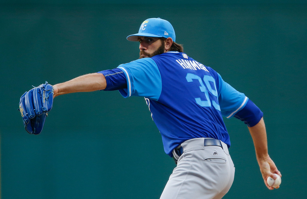 . Kansas City Royals starting pitcher Jason Hammel delivers against the Cleveland Indians during the first inning in a baseball game, Saturday, Aug. 26, 2017, in Cleveland. (AP Photo/Ron Schwane)