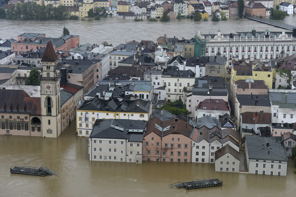 . The rivers Inn (back) and Danube flood the old city of Passau, southern Germany, on June 3, 2013. Due to heavy and ongoing rainfalls, parts of the southern state of Bavaria were flooded.  CHRISTOF STACHE/AFP/Getty Images