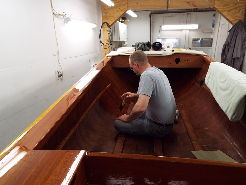 Another view of the varnish being applied.
