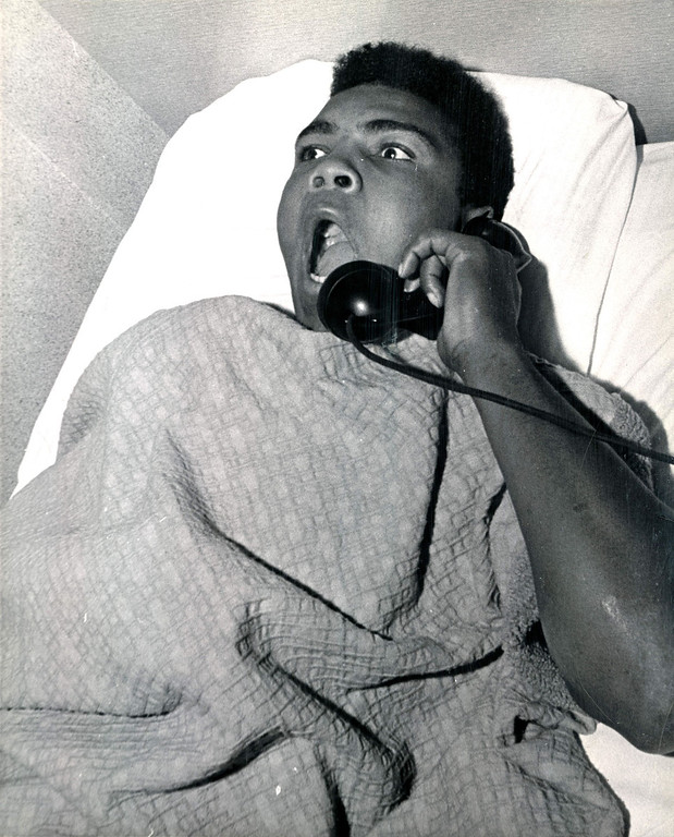 . After a night of making Denver, and Sonny Liston in particular, aware of his presence.  Cassius Clay and troupe found accommodations at the Albany Hotel.  The Denver Post caught him in bed Tuesday morning asking for the time of day and telling hotel employees what a great night he had Monday on the Liston home\'s front lawn. 1963 Denver Post Library photo archive