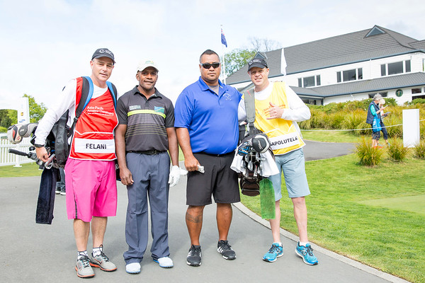 Thomas Felanin from Solomon Islands and Pelefoti Sagapolutele from American Samoa with their caddies after  hitting off the 1st tee on Day 1 of competition in the Asia-Pacific Amateur Championship tournament 2017 held at Royal Wellington Golf Club, in Heretaunga, Upper Hutt, New Zealand from 26 - 29 October 2017. Copyright John Mathews 2017.   www.megasportmedia.co.nz