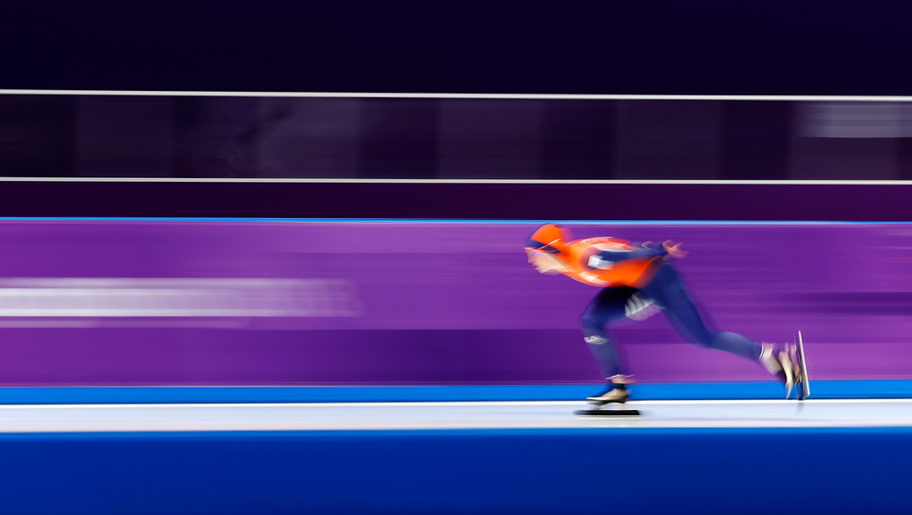 . Gold medallist Ireen Wust of The Netherlands competes during the women\'s 1,500 meters speedskating race at the Gangneung Oval at the 2018 Winter Olympics in Gangneung, South Korea, Monday, Feb. 12, 2018. (AP Photo/Petr David Josek)