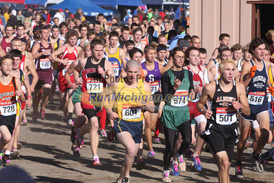 Boy's D3 at 800M, Mid-Race and Finish - 2011 MHSAA LP XC Finals