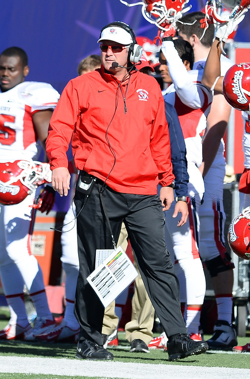 . LAS VEGAS, NV - DECEMBER 21:  Head coach Tim DeRuyter of the Fresno State Bulldogs walks on the sideline during his team\'s game against the USC Trojans in the Royal Purple Las Vegas Bowl at Sam Boyd Stadium on December 21, 2013 in Las Vegas, Nevada. USC won 45-20.  (Photo by Ethan Miller/Getty Images)