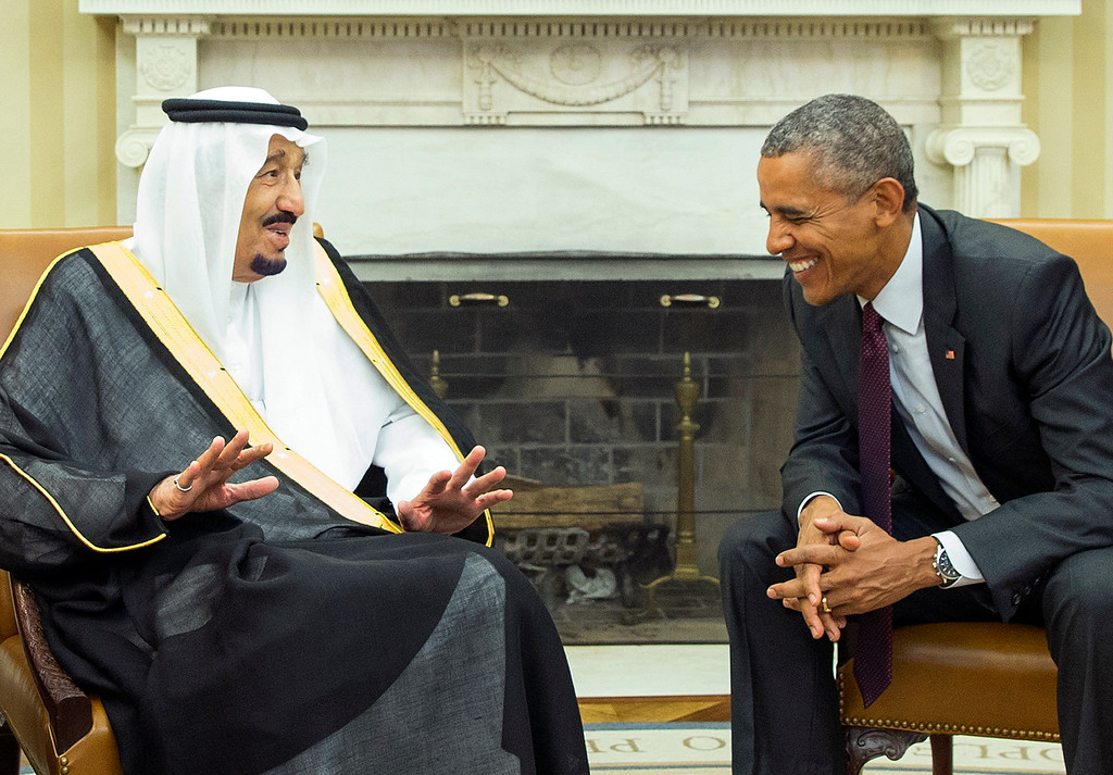 . President Barack Obama, right, meets with King Salman of Saudi Arabia in the Oval Office of the White House, on Friday, Sept. 4, 2015, in Washington. The meeting comes as Saudi Arabia seeks assurances from the U.S. that the Iran nuclear deal comes with the necessary resources to help check Iran�s regional ambitions.   (AP Photo/Evan Vucci)