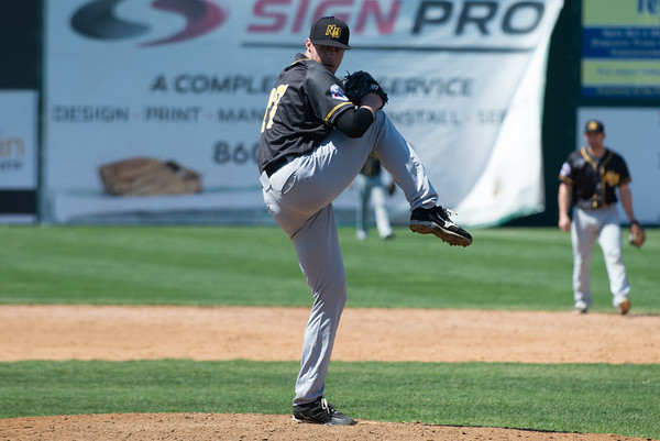 The New Britain Bees held their first exhibition game of the season vs the Milford Hunters on Tuesday afternoon. Jed Bradley (27). Wesley Bunnell | Staff