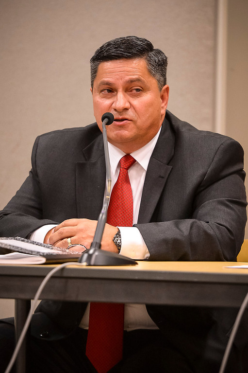 . Patrick Gomez, candidate for Los Angeles County Sheriff, at a debate at the Van Nuys Neighborhood Council on Wednesday, March 12, 2014. (Photo by David Crane/Los Angeles Daily News)