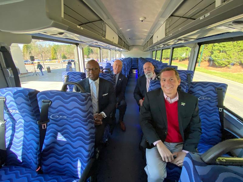 (l-r) John Lewis - Chief Executive Officer of CATS, Woody Washam - Mayor of Cornelius, Rusty Knox - Mayor of Davidson, and John Aneralla - Mayor of Huntersville
