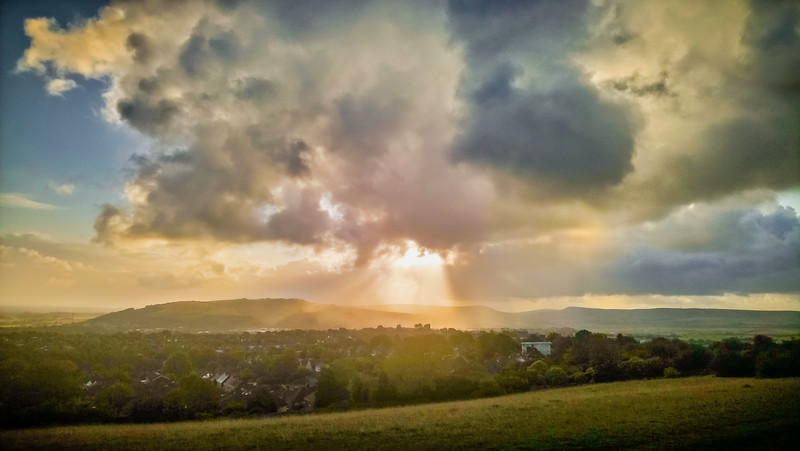 Sun shining down on Lewes Castle