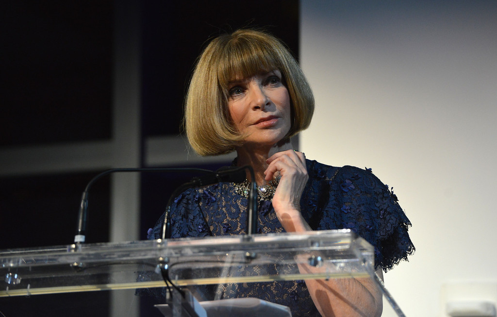. NEW YORK, NY - OCTOBER 16:  Vogue editor-in-chief Anna Wintour speaks onstage at God\'s Love We Deliver 2013 Golden Heart Awards Celebration at Spring Studios on October 16, 2013 in New York City.  (Photo by Larry Busacca/Getty Images for Michael Kors)