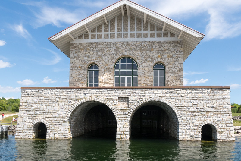 pitched roof structure used as a boathouse