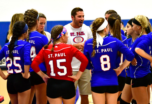 9/27/2018 Mike Orazzi | Staff St. Paul Volleyball Volleyball Coach Devin Pecevich Thursday night in Bristol.