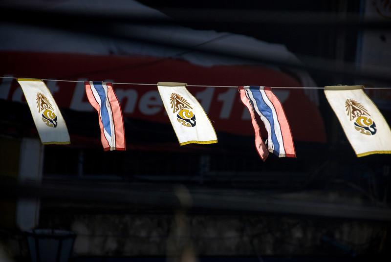 More flags being hung during the 2010 Songkran Festival