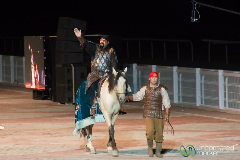 Steven Seagal on Horseback for Opening Ceremony, World Nomad Games 2016