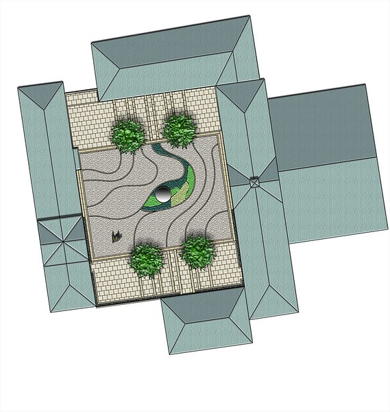 Amorphic concept idea presented to the client using resin bound gravel and glass surfacing, with stainless steel spherical water feature and large containers to hold proposed trees.