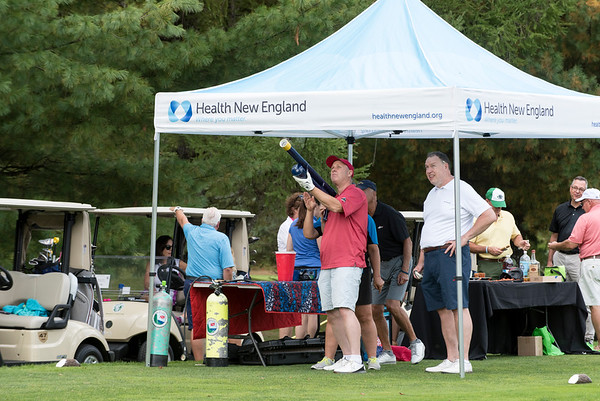 09/24/19 Wesley Bunnell | StaffrrGolfers take their turn aiming the golf ball air cannon during the Ed Beardsley Little League Challenger Golf Tournament at Chippanee Golf Club on Tuesday afternoon.