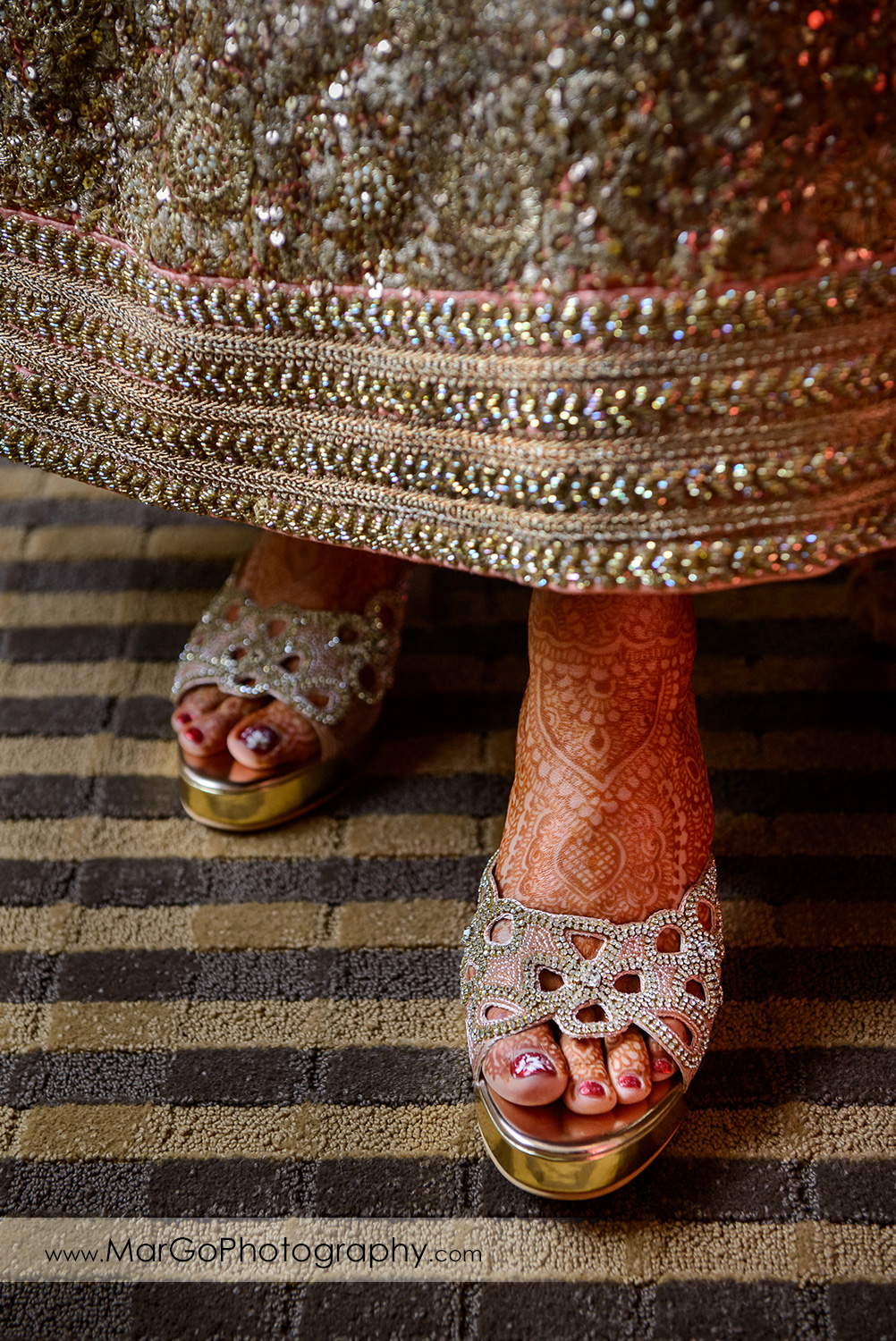 wedding shoes on indian bride in DoubleTree by Hilton Pleasanton at the Club