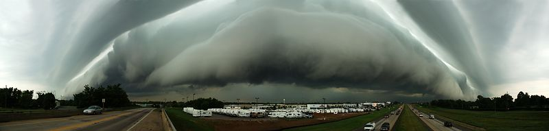 June 18, 2004.  Panorama of storm clouds over Springfield.  My office is just past the RV lot.