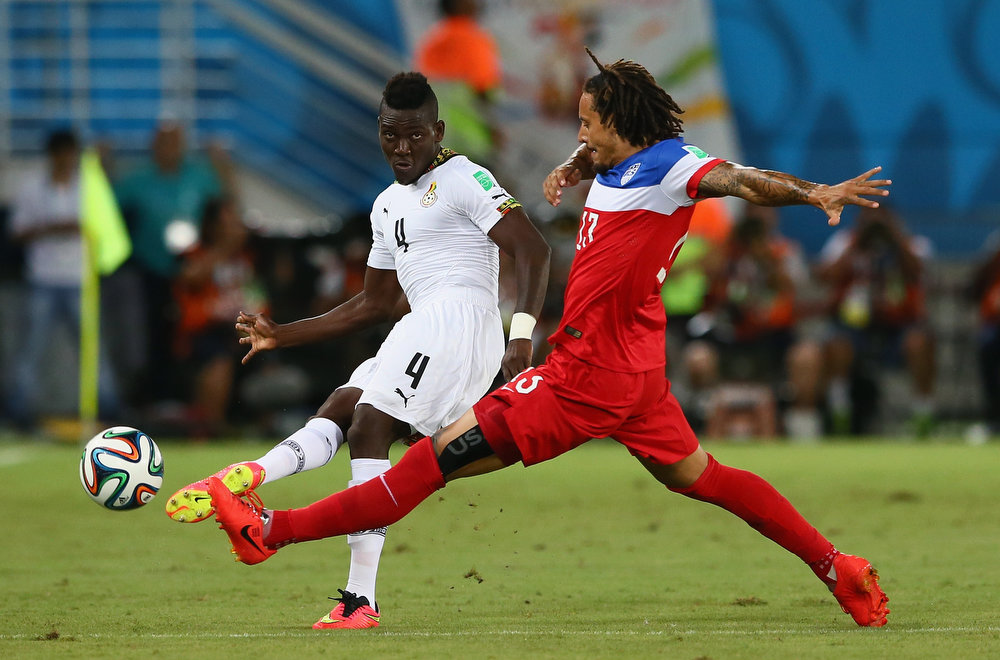 Description of . Daniel Opare of Ghana and Jermaine Jones of the United States during the 2014 FIFA World Cup Brazil Group G match between Ghana and the United States at Estadio das Dunas on June 16, 2014 in Natal, Brazil.  (Photo by Kevin C. Cox/Getty Images)