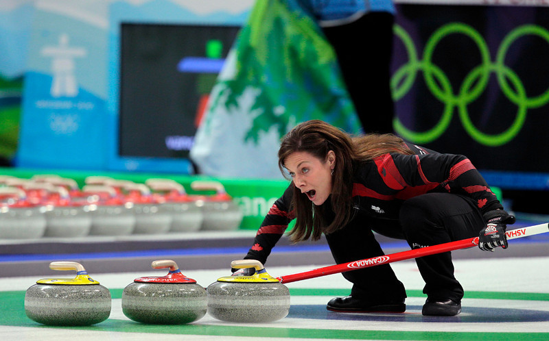 . Canada\'s Cheryl Bernard reacts to a shot during the gold medal women\'s curling match against Sweden at the Vancouver 2010 Olympics in Vancouver, British Columbia, Friday, Feb. 26, 2010. (AP Photo/Jae C. Hong)