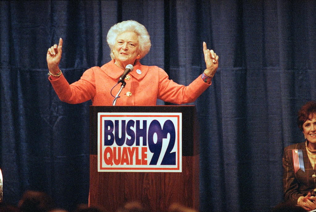 . First lady Barbara Bush is pictured campaigning for her husband, 1992, location unknown. (AP Photo)