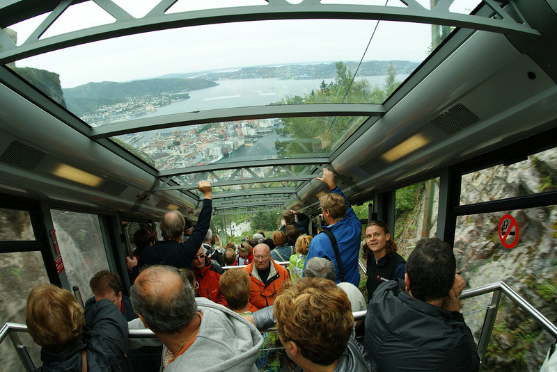 We rode one of those funicular trains up to the nearby Mt. Floyen overlook for a city view of Bergen