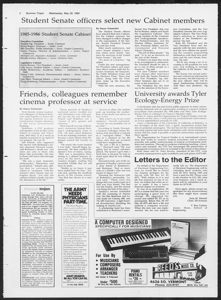 Summer Trojan, Vol. 99, No. 2, May 29, 1985