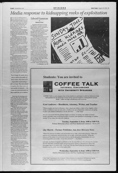 Daily Trojan, Vol. 147, No. 5, August 30, 2002