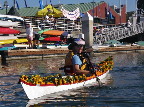 "LaRhee, of course, trumps all of us in her ""sunflower theme"" boat."