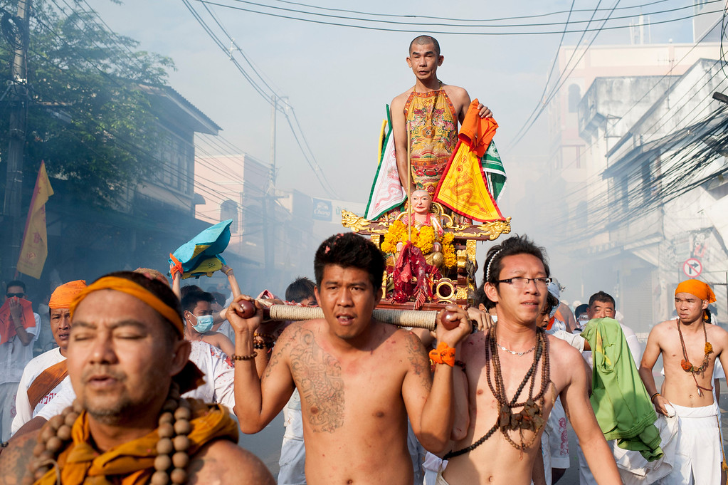 . Vegetarian festival devotees parade through the streets on September 29, 2014 in Phuket, Thailand.  (Photo by Borja Sanchez-Trillo/Getty Images)