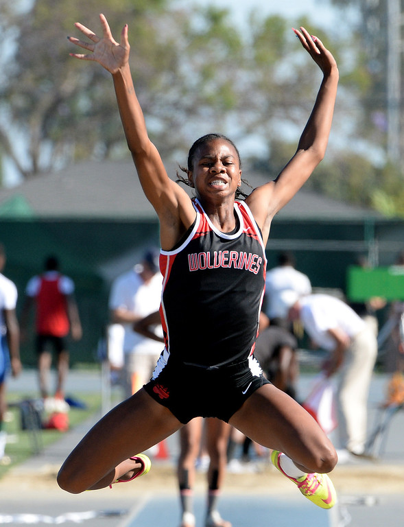 . Harvard Westlake\'s Courtney Corrin competes in the long jump during the CIF-SS Masters Track and Field meet at Falcon Field on the campus of Cerritos College in Norwalk, Calif., on Friday, May 30, 2014.   (Keith Birmingham/Pasadena Star-News)