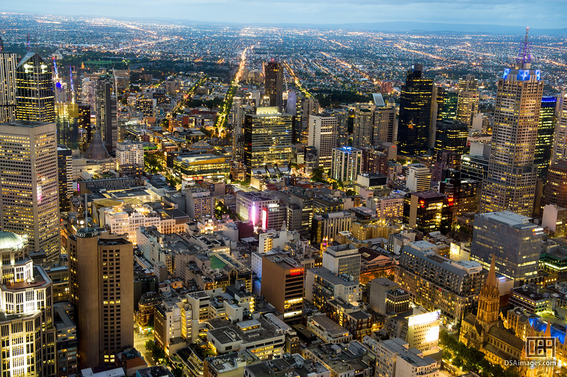 Melbourne at night from the Eureka Skydeck