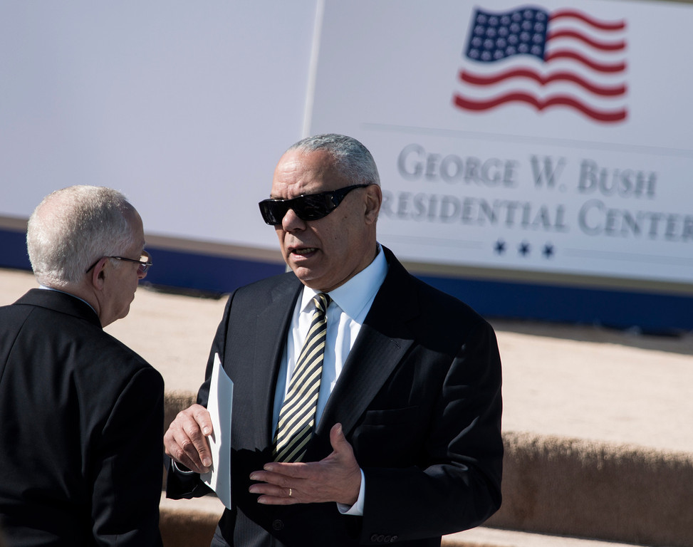 . Former US Secretary of State Colin Powell before a dedication ceremony at the George W. Bush Library and Museum on the grounds of Southern Methodist University April 25, 2013 in Dallas, Texas. The Bush library is dedicated to chronicling the presidency of the United State\'s 43rd President, George W. Bush.  BRENDAN SMIALOWSKI/AFP/Getty Images