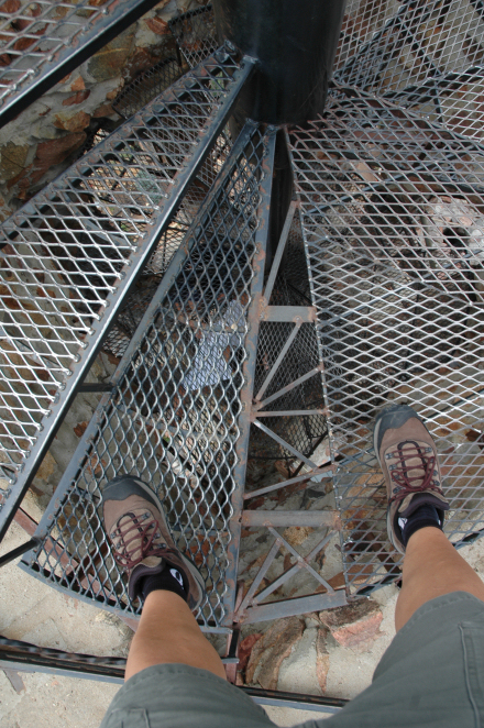 Watch your footing at all times on the mesh, circular staircase.