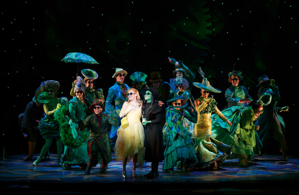 ". The company of the national tour of ""Wicked\"" performs. The show is at Playhouse Square through Dec. 3. For more information, visit www.playhousesquare.org/events/detail/wicked-1. (Joan Marcus)"