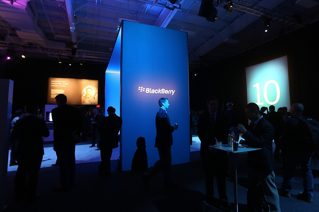 . People gather before the start of the BlackBerry 10 launch event by Research in Motion at Pier 36 in Manhattan on January 30, 2013 in New York City. The new smartphone and mobile operating system is being launched simultaneously in six cities.  (Photo by Mario Tama/Getty Images)