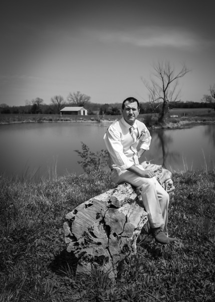 Waiting for His Bride on the log bw (1 of 1).jpg