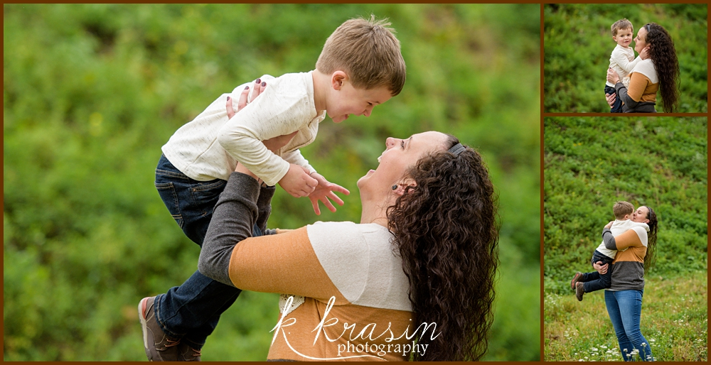 Collage of photos of mom and son playing in field