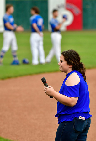 7/6/2019 Mike Orazzi | Staff Hannah Wheelock after singing the national anthem before the Bristol Blues game at Muzzy Field on Saturday night.