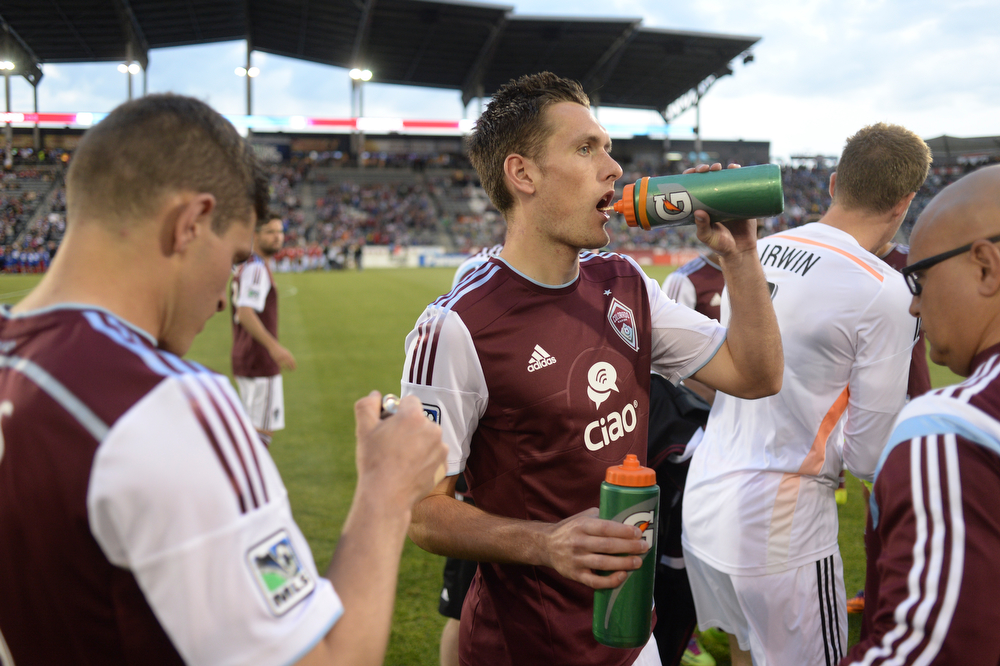 . Colorado defender Shane O\'Neill prepared for the game Saturday night. The Colorado Rapids defeated the Montreal Impact 4-1 Saturday night, May 24, 2014. (Photo by Karl Gehring/The Denver Post)