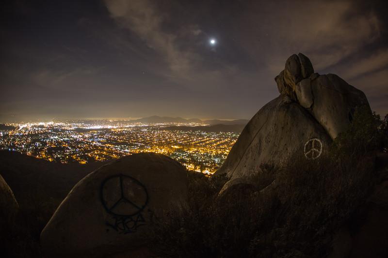 Moon, rocks, and suburban Santee.