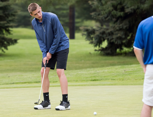05/10/18 Wesley Bunnell   Staff New Britain golf defeated Bristol Eastern 212-219 at Stanley Golf Course on Thursday afternoon. Bristol Eastern's Drew Fries with his putt.