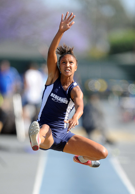 . Redlands Margaux Jones in the long jump during the CIF-SS Masters Meet at Cerritos College on Friday, May 24, 2013 in Norwalk, Calif.  (Keith Birmingham Pasadena Star-News)