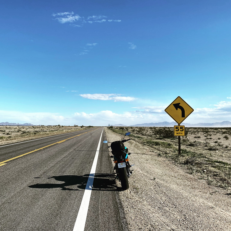 motorcycle blogging and photography go hand in hand - FZ07 on route 68 in California near the town of Rice