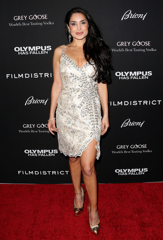 """. Actress Saye Yabandeh attends the Premiere of FilmDistrict\'s \""""Olympus Has Fallen\"""" at the ArcLight Cinemas Cinerama Dome on March 18, 2013 in Hollywood, California.  (Photo by Frederick M. Brown/Getty Images)"""