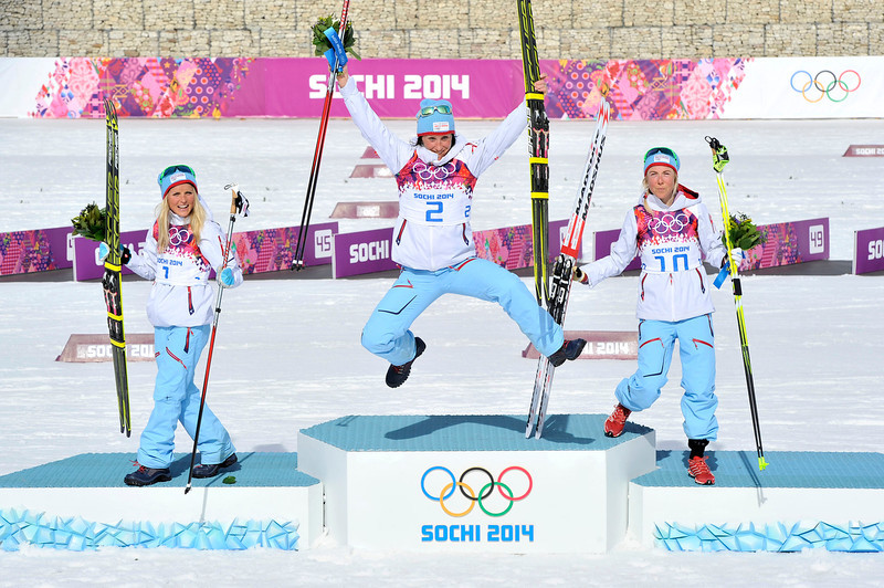 . Marit Bjoergen of Norway wins gold medal, Therese Johaug of Norway wins silver medal, Kristin Stoermer Steira of Norway wins bronze medal during the Cross-Country Women\'s 30km Mass Start at the Laura Cross-country Ski & Biathlon Center on February 22, 2014 in Sochi, Russia. (Photo by Vianney Thibaut/Agence Zoom/Getty Images)