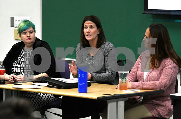 2/28/2018 Mike Orazzi   Staff Panelists Sarah Nichols, Joanna Blumetti and Jamaly Rios during a discussion about the opioid crisis held at Tunxis Community College, Wednesday afternoon.