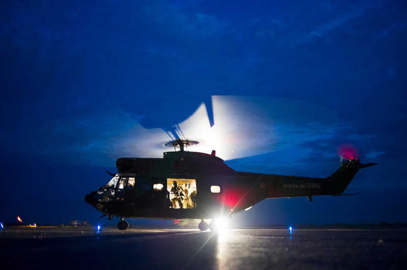 . A Puma helicopter from the French Army with French soldiers flying back from the city of Timbuktu, arrive at the French army base camp on January 28, 2013 in Sevare, located 630 kilometers north-east of Bamako. French-led forces Monday seized Mali\'s fabled desert city of Timbuktu in a lightning advance north as fleeing Islamists torched a building housing priceless ancient manuscripts.  FRED DUFOUR/AFP/Getty Images