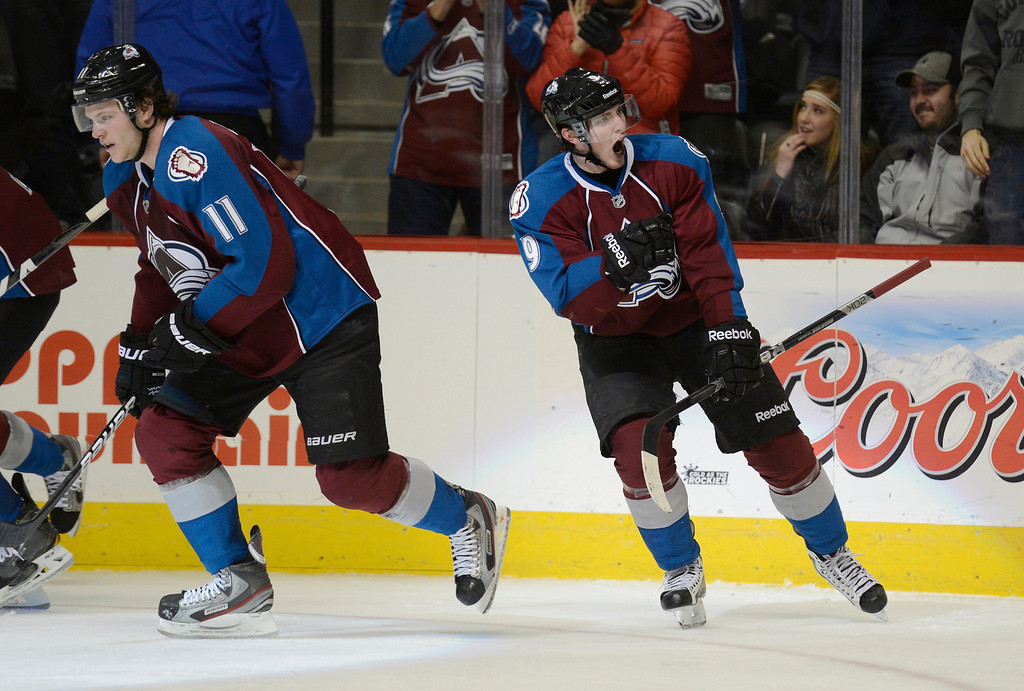 . DENVER, CO. - FEBRUARY 28: Matt Duchene (9) of the Colorado Avalanche celebrates his game winning goal in the third period February 28, 2013 at Pepsi Center. The Colorado Avalanche defeated the Calgary Flames 5-4. (Photo By John Leyba/The Denver Post)