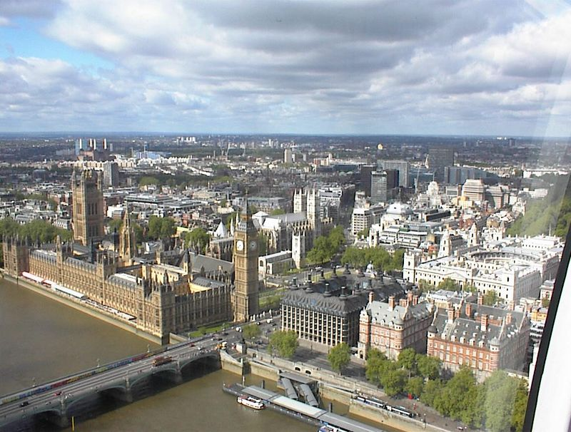Westminster Bridge, the Houses of Parliament, and Westminster Abbey from the London Eye